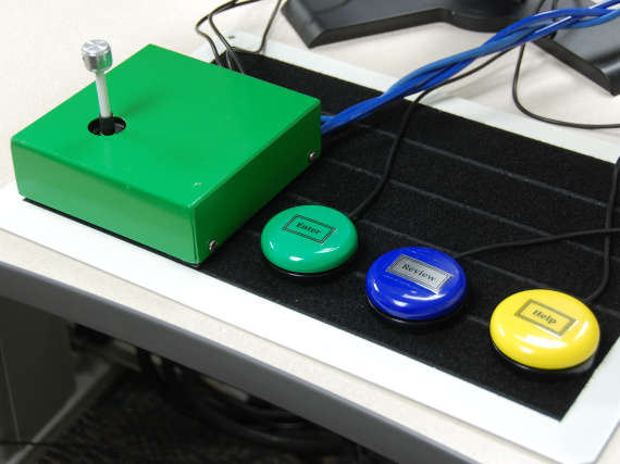 Participants used the joystick in a variety of ways, including pushing it with their foreheads, nudging it between their index and middle fingers, or striking it with their closed fists.