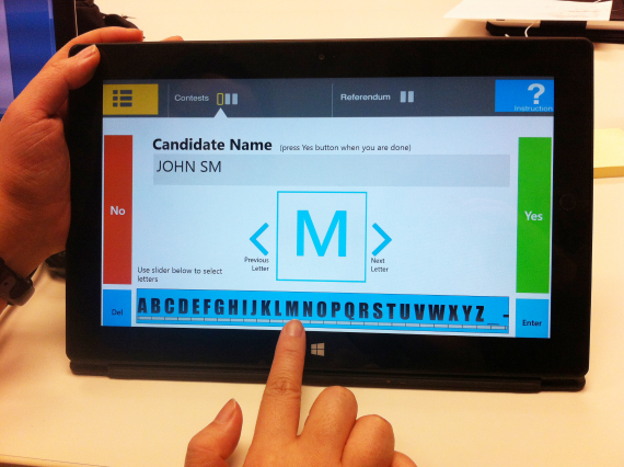 The EZ Ballot, a winning concept in the OpenIDEO challenge was developed in a graduate-level design class at the Georgia Institute of Technology. The final design combines tactile buttons, audio prompts, touch screen interaction and a slider for text entry.