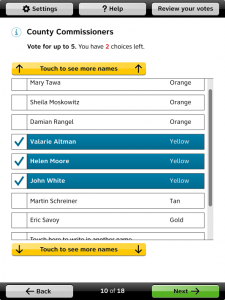 On the Anywhere Ballot, visible buttons at the top and bottom of a scrolling area provide an alternative to scroll bars or gestures for scrolling.
