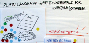 Plain language: easy to understand for everyone (cognitive) - no terminology, not legal, complex